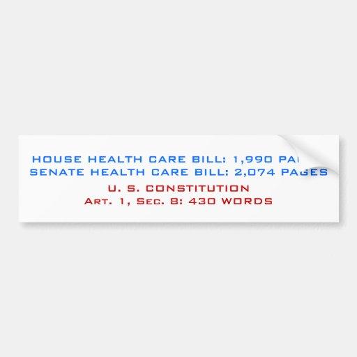 HOUSE HEALTH CARE BILL: 1,990 PAGESSENATE HEALT... CAR BUMPER STICKER
