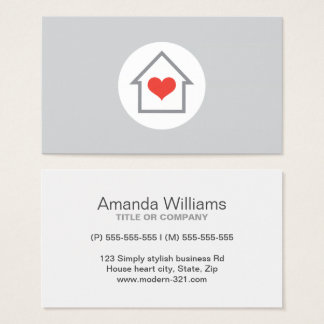 House heart real estate agent interior decorator business card