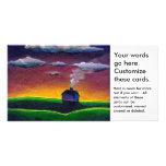 House home sunrise new year peaceful landscape art card