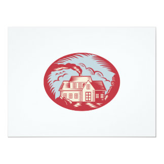 House Homestead Cottage Woodcut 6.5x8.75 Paper Invitation Card