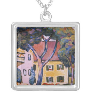 House in a Landscape Silver Plated Necklace