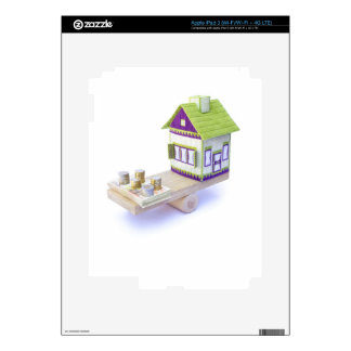 House in balance with pile of euro coins and notes iPad 3 decals