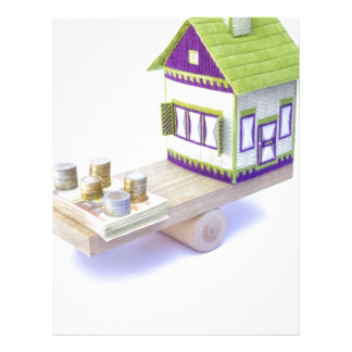 House in balance with pile of euro coins and notes letterhead
