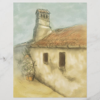 house in coimbra portugal colored drawing