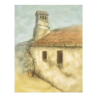 house in coimbra portugal colored drawing letterhead