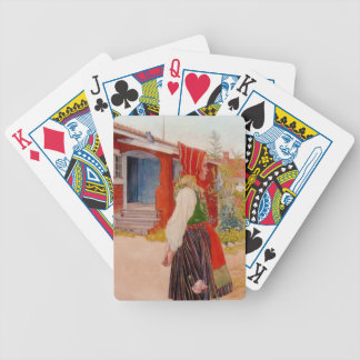 House in Falun with Girl Bicycle Playing Cards