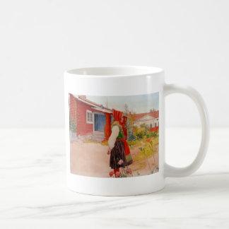 House in Falun with Girl Coffee Mug