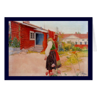 House in Falun with Girl Greeting Card