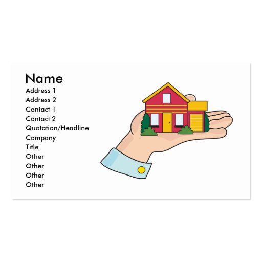 House in Hand Business Card Template