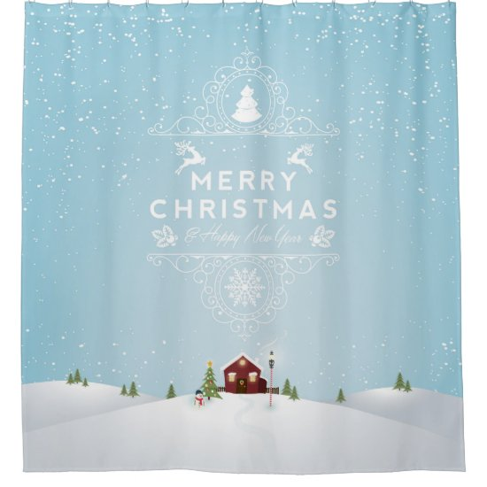 House in Snow Christmas Shower Curtain
