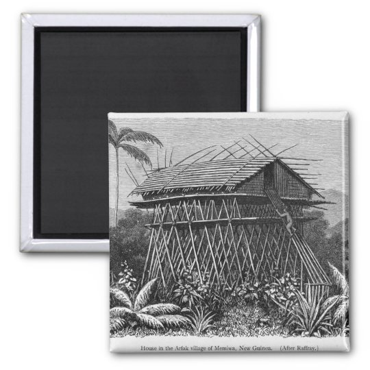 House in the Arfak village of Memiwa, New Guinea Magnet