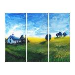 landscape art canvas print, landscape triptych,