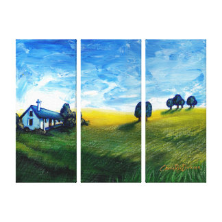 House in the Countryside Triptych Canvas Print