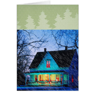 house in the snow card