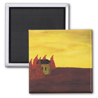 House in the Trees 2 Inch Square Magnet