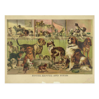 House Kennel and Field by Currier & Ives 1893 Post Card