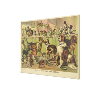 House Kennel and Field by Ives 1893 Canvas Print