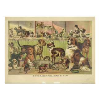 House Kennel and Field by Ives 1893 Photo Print