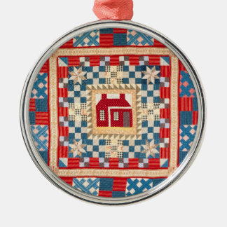 House Medallion Quilt with Multiple Borders Metal Ornament