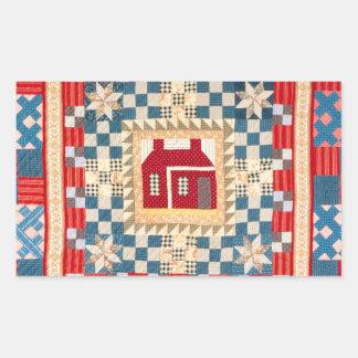 House Medallion Quilt with Multiple Borders Rectangular Sticker