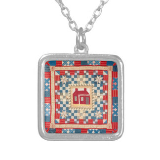 House Medallion Quilt with Multiple Borders Silver Plated Necklace