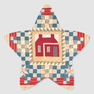 House Medallion Quilt with Multiple Borders Star Sticker