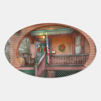 House - Metuchen, NJ - That yule tide spirit Oval Sticker