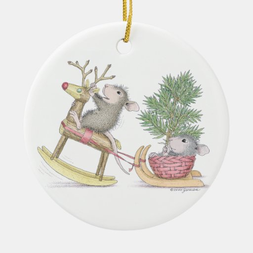 House Mouse Designs Baby 39 S First Christmas Double Sided Ceramic Round Christmas Ornament Zazzle