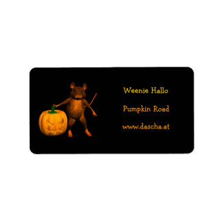 House Mouse with Pumpkin Address Label