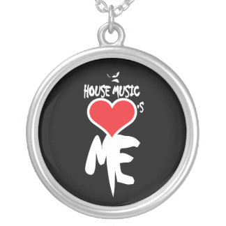 House Music Loves Me Round Pendant Necklace