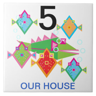 house number large square tile