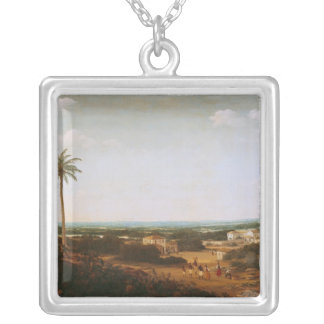 House of a Portuguese Nobleman in Brazil Silver Plated Necklace