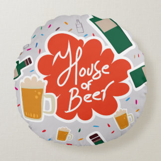 House of Beer Round Pillow