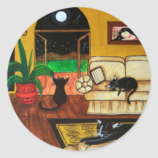 House of Cats Full Moon Round Sticker