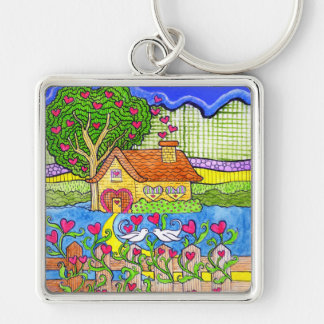 House of Love with Hearts with Doves Keychain