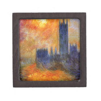 House of Parliament Sun by Claude Monet Keepsake Box