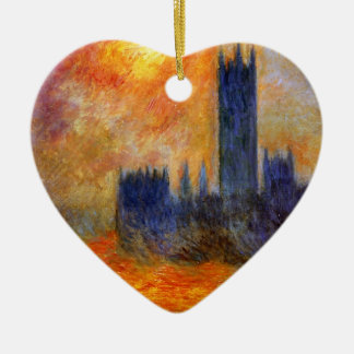 House of Parliament Sun - Claude Monet Double-Sided Heart Ceramic Christmas Ornament