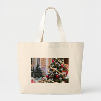 House of Santa Claus, Christmas trees and reindeer Large Tote Bag