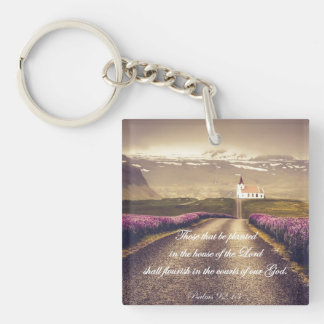 House of the Lord Bible Verse Keychain