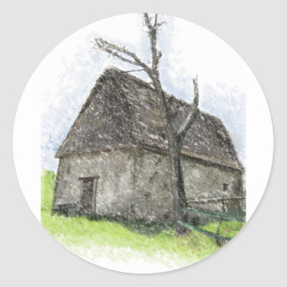 House og the wicked witch classic round sticker