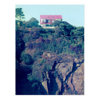 House on a Cliff, Tenby, Wales, UK Postcard