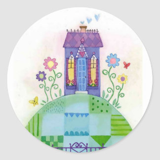house on a hill classic round sticker
