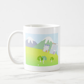 House on a hill on pastel blue background. coffee mug