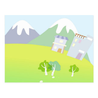 House on a hill on pastel blue background post cards