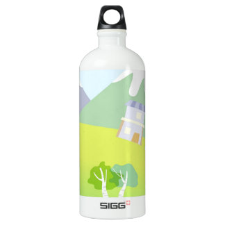 House on a hill on pastel blue background. water bottle