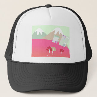 House on a hill on pastel green background. trucker hat