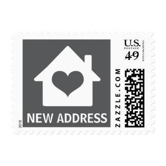 House on dark gray background change of address postage