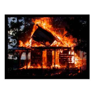 HOUSE ON FIRE POSTCARD