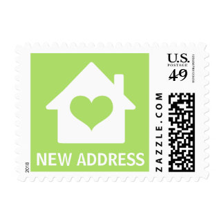 House on lime green background change of address postage