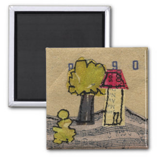 House on Music 2 Inch Square Magnet